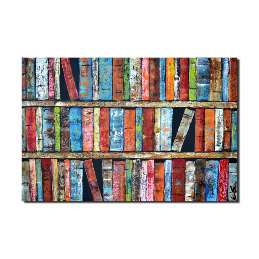 Colorful 36 Library Books Poster Print Carnival Colors