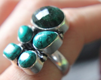 SPRING Sale! 60% off! Turquoise and Jadeite Silver Hand Forged Ring