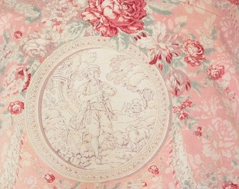 1900s Antique French Pink Rose Toile Fabric Custom Decorative Pillow