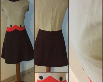 Vintage MOD dress in Brown colours