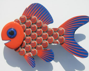 Orange Soda Cap Goldfish Art Metal BottleCap Bottlecap Art