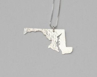 Maryland Necklace. Custom State Shaped University of Maryland Art Charm. I Heart Silver Maryland State of Mind Pendant.