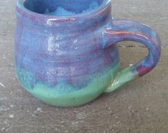 Unique purple and  lime green coffee mug