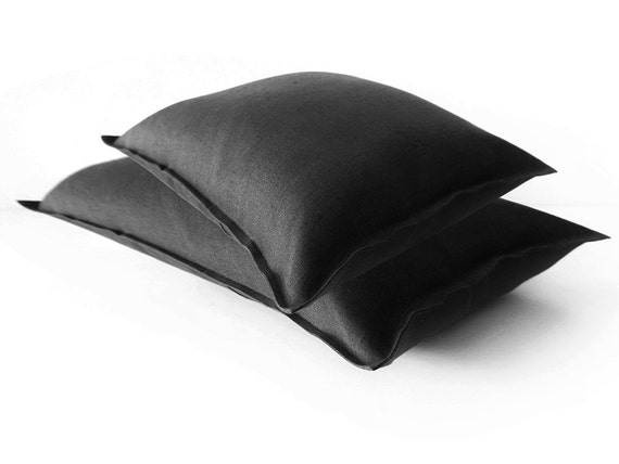 Black Linen Throw Pillows : Black linen decorative pillow cover Lumbar by LovelyHomeIdea