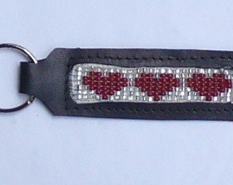 Hand crafted leather beaded key chain- Red Hearts