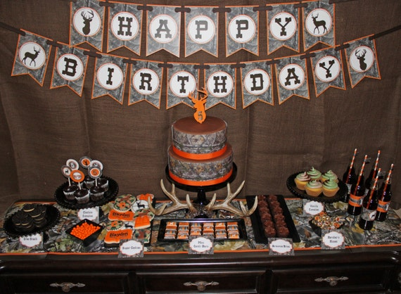 Tree House Red Deer Birthday Party Image Inspiration of Cake and