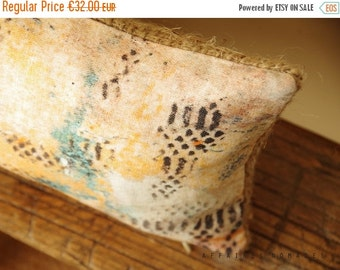 "ON SALE Boho Linen & recycled burlap ooak accent throw pillow case.. Long mini.  8"" x 16"" .. / ETHNICS Moments  Bohemian rustic interior"