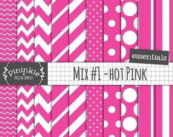 50% OFF SALE Hot Pink Digital Paper, Pink Scrapbook Paper, Hot Pink Polka Dot, Pink Chevron, Instant Download, Commercial Use
