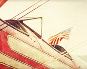 """American Flag """"Salute"""", Antique Airplane, Photography Print, 6x9 + More Sizes, Red, Cockpit, Wing Support, Flying, Home Decor, Biplane"""