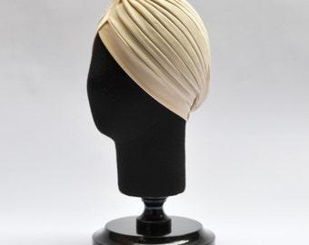 Bandana Cream Turban full headband, headpiece, hair turban, boho headband