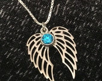 Angel Wing Birthstone Memorial Necklace - Angel Gift - Memorial Gift - Miscarry