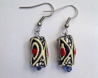 Navy Blue & Red Diamond Designed Earrings