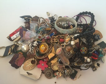 Lot of Broken Scrap Jewelry For Crafting Over 2 Lbs Beads Chains