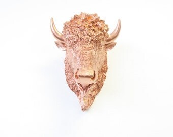 Miniature Rose Gold Bison Head Wall Mount -Rose Gold Home Decor- Bison Faux Taxidermy MBIH11