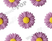 27mm - Large Matte Lilac Purple Daisy Sunflower Resin Cabochons, Daisy Cabochons, Flower Cabochons, Sunflower Cabochons (R6-043)