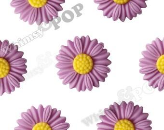27mm - Large Matte Lilac Purple Daisy Sunflower Resin Cabochons, Daisy Cabochons, Flower Cabochons, Sunflower Cabochons (R6-043)