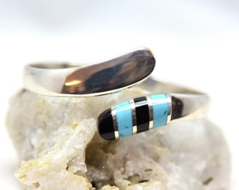 Vintage 925 Sterling Silver, Turquoise & Onyx Taxco Mexico Hinged Mid Century Modernist Clamper Bypass Bracelet