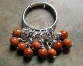 Lovely Little Adjustable Charm Ring/Shaggy Ring/Cinnamon Coral Ring