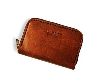 Brown Leather Zip Around Wallet Cardholder