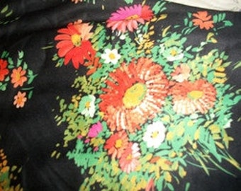 Black Floral Stretch Knit Fabric