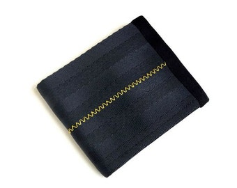Vegan Wallet with Coin Pocket - Seat Belt Wallet - Yellow and Black