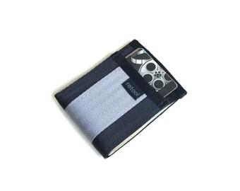Minimalist Wallet - Card Holder with Center Slot for Cash - Black and Silver Seatbelt Webbing
