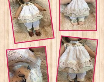 American Girl, Waldorf doll clothes, layered skirt, hidden pocket, 2 pc