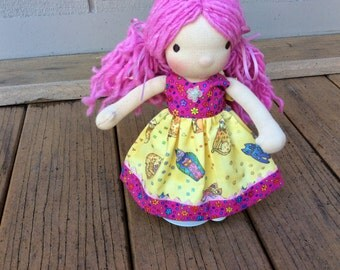 """Waldorf doll clothes for 9-10"""" slim, Laurel Burch, kitty cat, Pookibell"""