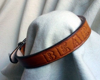 "Personalized dog collar, S, 5/8"" wide, full grain leather"