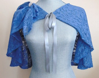 CLEARANCE Blue Bridal Lace Capelet, Lace Cloak, Slate Blue Lace Cape, Wedding Capelet, Capelet, Lace Cover, Slate Blue Capelet DARLING DIANA