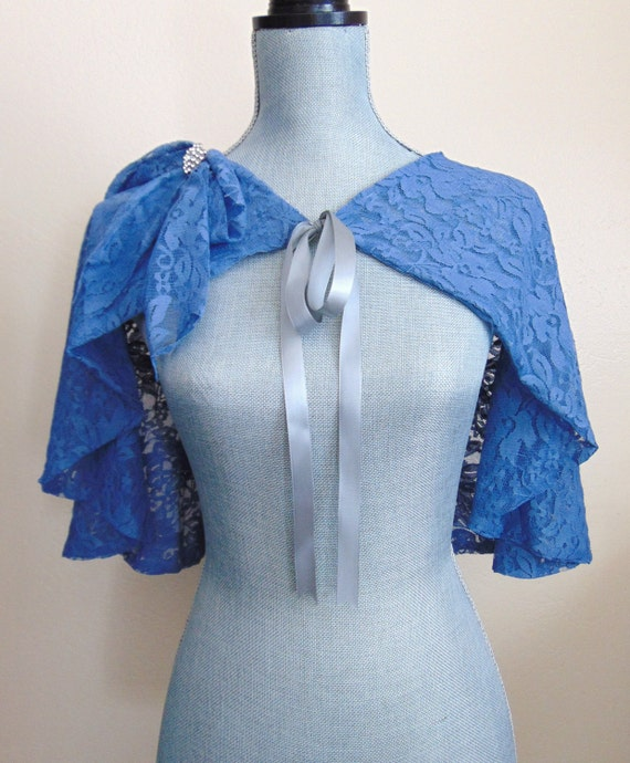 Blue Bridal Lace Capelet, Lace Cloak, Slate Blue Lace Cape, Wedding Capelet, Capelet, Lace Cover, Slate Blue Capelet DARLING DIANA