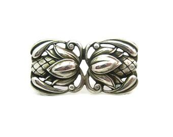 Nordic Style Brooch. Modernist Sterling Silver. Scandinavian Modern Flower Bud by Viking Craft. C. 1940s Vintage Jewelry