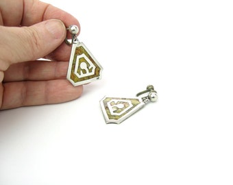 Sterling Triangle Earrings. Taxco Silver, Colorful Inlay. Los Ballesteros. Dangle Screw Backs. Vintage 1950s Mid Century Modernist Jewelry