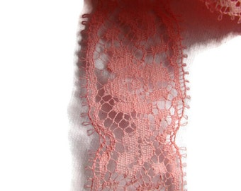 2  yards of 1 inch wide salmon deep pink eyelash lingerie lace  from 1950s -  perfect condition