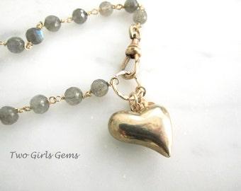 Vintage 9k gold puffy heart charm, Beaded Labradorite bracelet,  Two Girls Gems