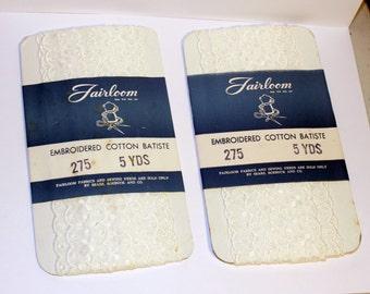 Vintage Fairloom Embroidered Cotton Batiste, 5 yards of Cotton Batiste, Vintage Sewing Trim, Embroidered Ribbon, White Cotton Ribbon