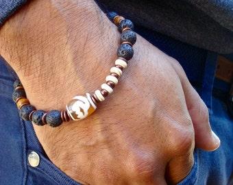 Spiritual Semi Precious Amber Tibetan Lotus Flower Fire Agate Bracelet with Lava, Howlite  Wood, Copper, Czech Glass -  Lotus Yoga Bracelet