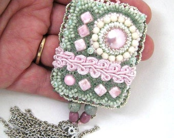 Bead embroidered necklace, Green and pink necklace, Beaded necklace, Seed bead jewelry, Unique gifts for women, Pastel pendant