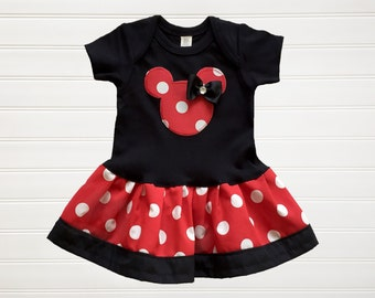 Minnie Red Polka dots Dress Baby Toddlers 6 12 18 24 Months Girls 2 3 4 5 6 8