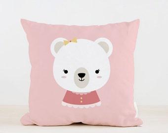 Nursery Girl Bear Pillow, Kids Pillow Cushion, Home decor, Children Room Decor