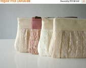 ON SALE 4 Romantic Bridesmaid lace clutch Ruched bags Pleated lace Pearl effect leather Bridesmaids gifts