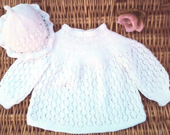 Newborn baby girl's hand knitted white Diamond lace lacy dress and frilly hat pram outfit OOAK original design