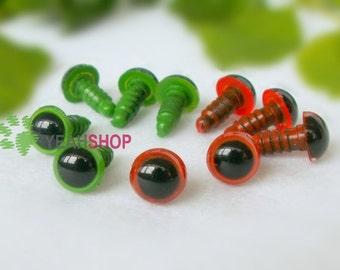 7mm Safety Eyes Plastic Doll Eyes - Green / Red