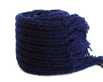 Ink blue knit Men scarf merino wool with fringes