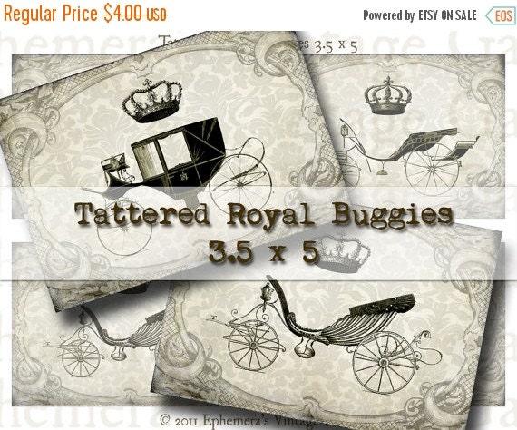 HALF PRICE Tattered Royal Buggies 3.5 x 5 Inches - Digital Collage Sheet - hang tags invitations wedding bridal monochromatic scrapbooking n
