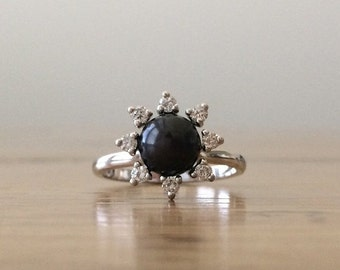 HUGESALE Black Pearl Ring - Pearl and Diamond Ring - Gold Pearl Ring - Gold Diamond Ring - Gift for Her