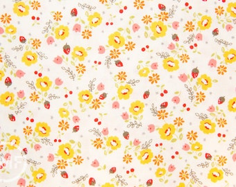 Lighthearted Floral in Yellow, Ayumi Mills, Kokka Fabric, 100% Cotton Japanese Fabric, HFG1052A