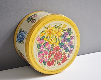 Large Vintage Floral Storage Tin