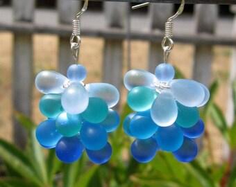 Sea Glass Bubble/Cluster Earrings
