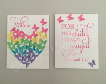 Customized Canvases - set of 2 - bible verse or phrase with butterflies - 1 Samuel 1:27